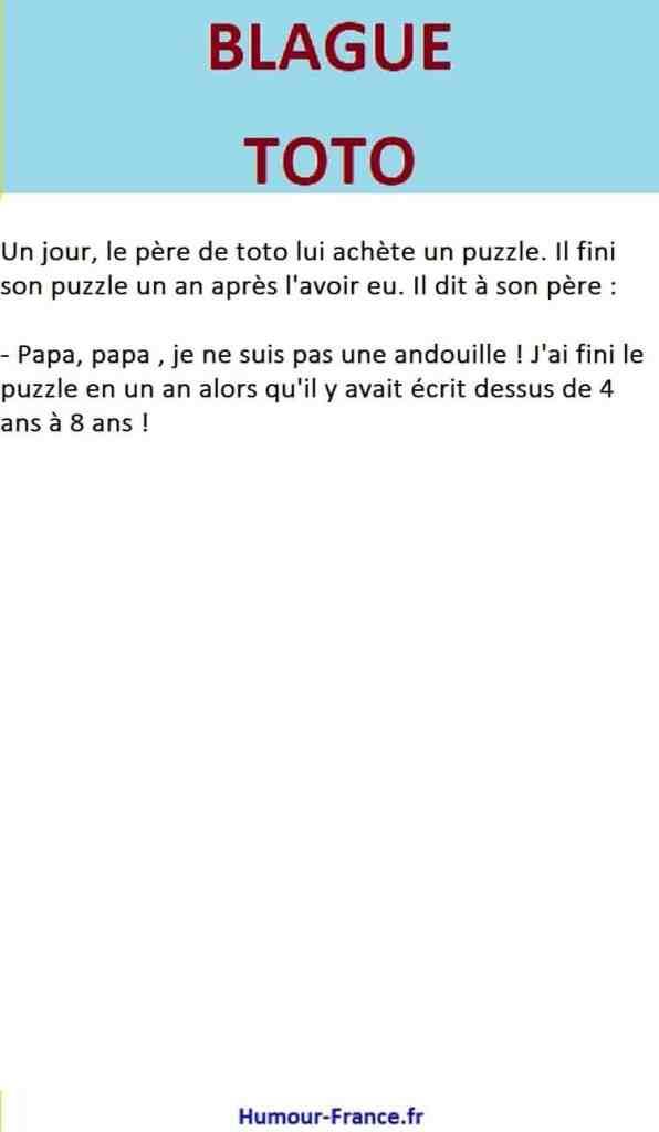 Un jour, le père de toto lui achète un puzzle