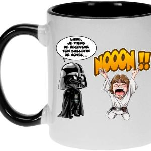 Mug Noir Star Wars parodique Luke Skywalker et Dark Vador
