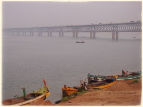 Bridge on River Godavari: Its a double decker bridge, road on top, rail below