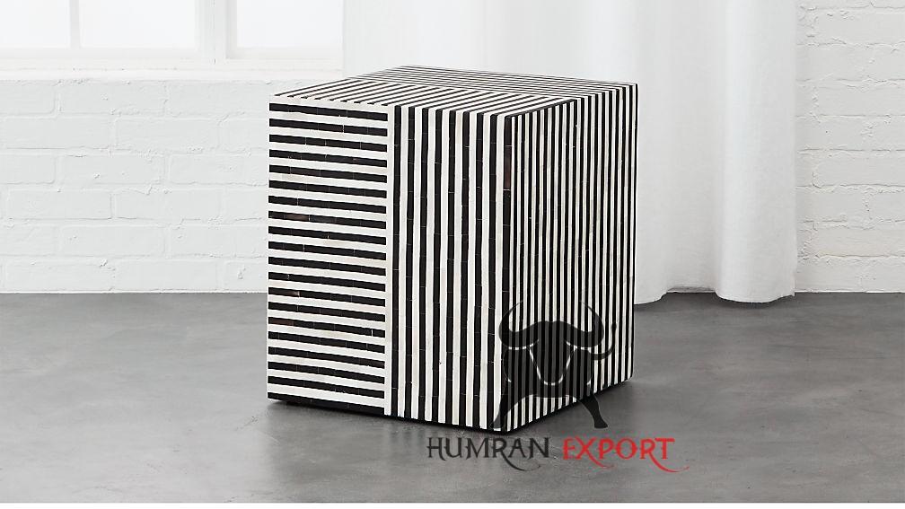 bone inlay black stool