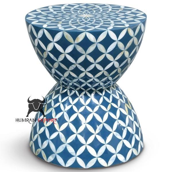 bone inlay blue stool
