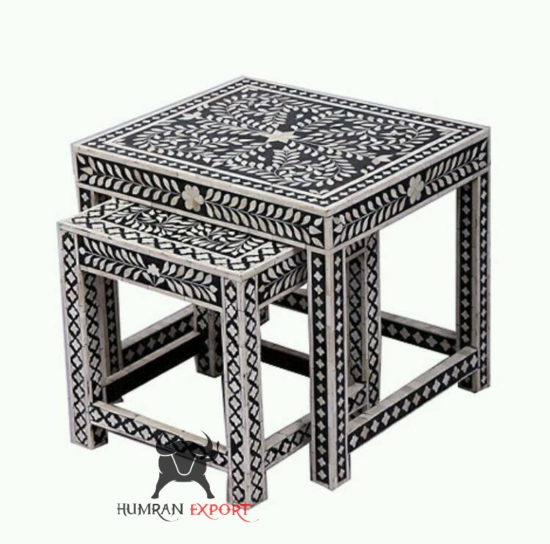 bone inlay stool set