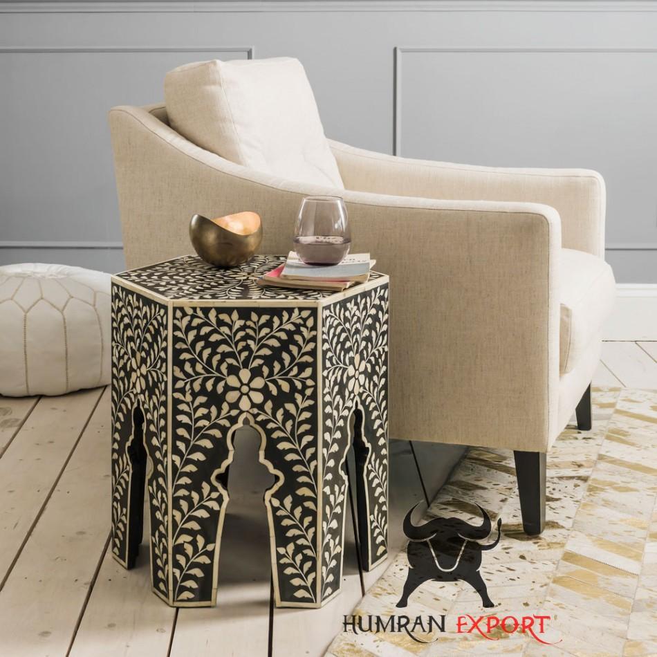 bone inlay floral stool