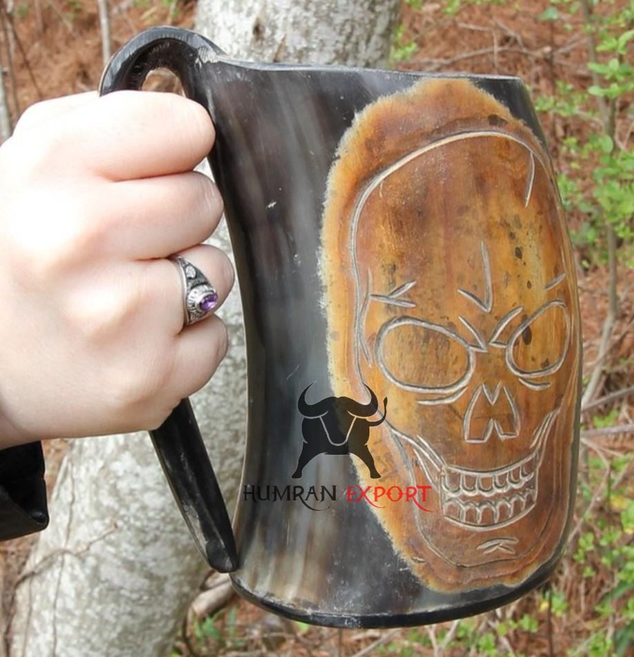 horn mug skull design