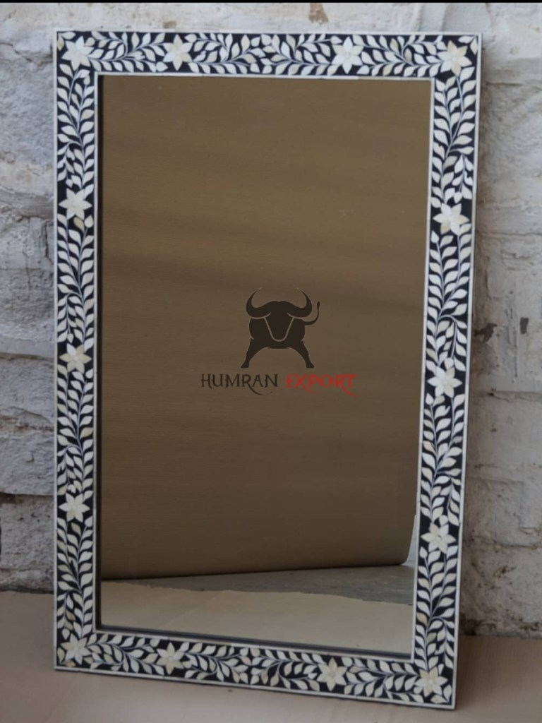 bone inlay square mirror frame