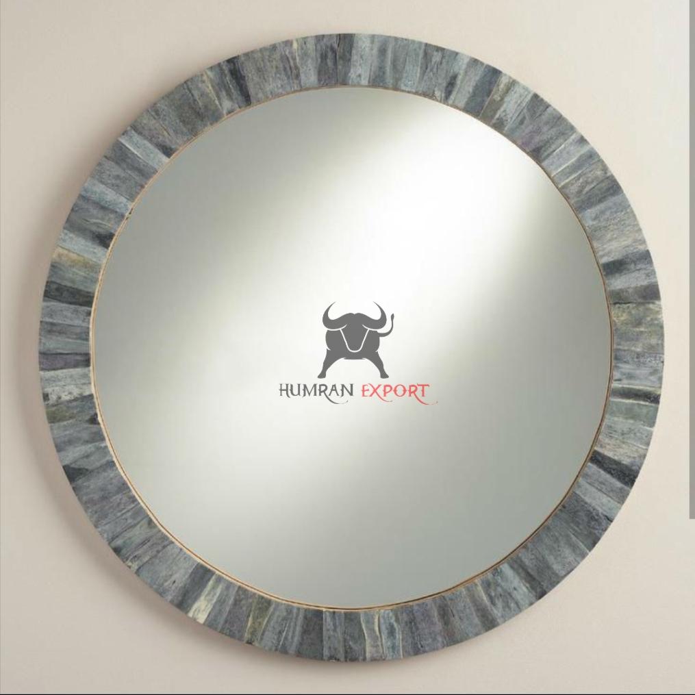 round bone inlay mirror frame