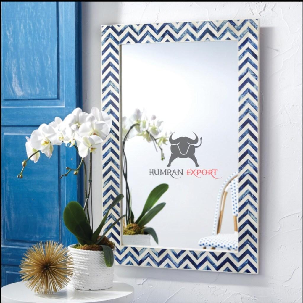 geometric bone inlay mirror frame