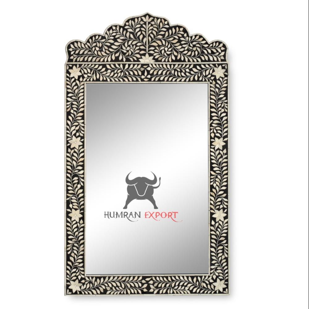 floral black bone inlay mirror frame