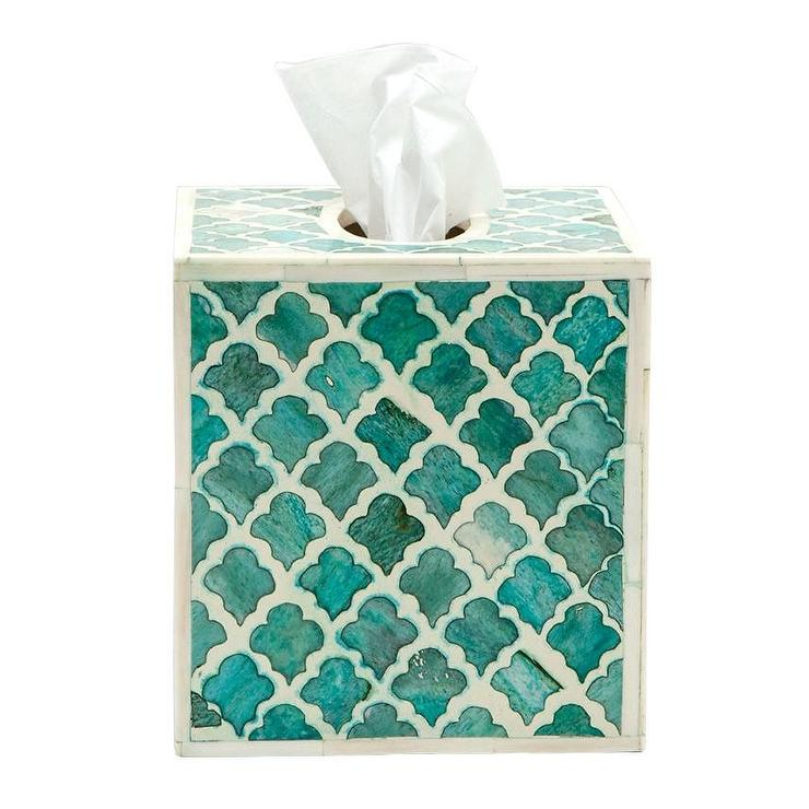 bone inlay tissue box green