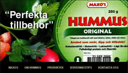 חומוס בקופסא של Maxo's השבדית