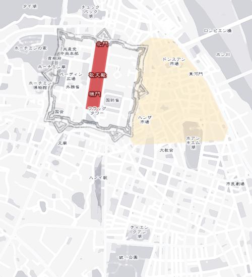 タンロン城郭 on ハノイの地図