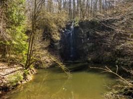 Basaltsee mit Wasserfall im Rhönwald