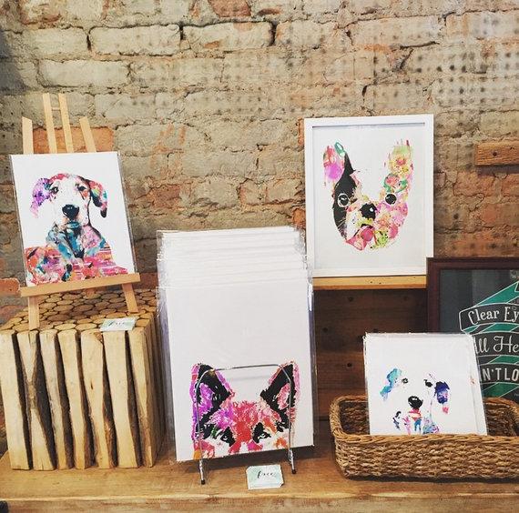 Wasserfarben Hunde Bilder und Postkarten