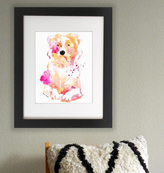 Wasserfarben Hunde Bild Aussie