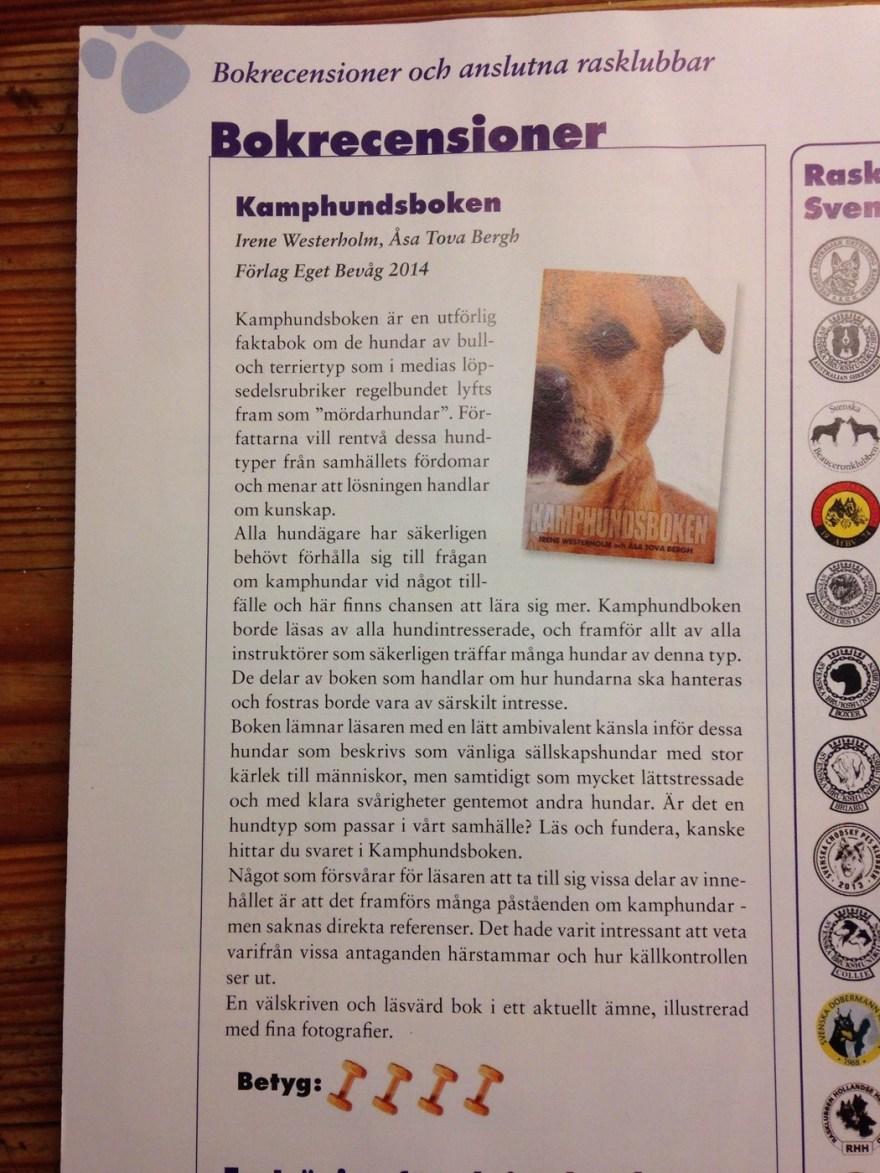 Recension i Brukshunden nr 2-2014, Svenska Brukshundklubbens tidskrift