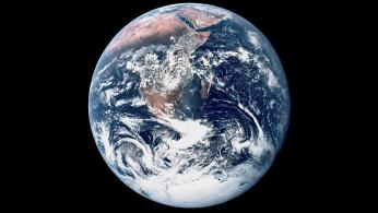 The carbon click ticking away will impact earth, the blue marble