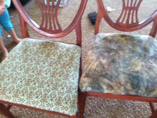 My chairs that I recovered in different cotton fabrics since I couldn