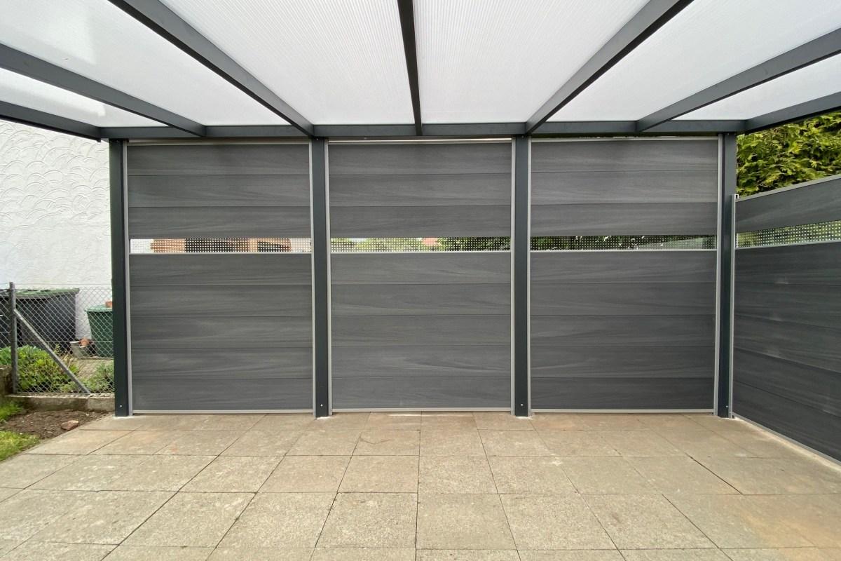 """Überdachung """"Legend Edition"""" in RAL 7016, freistehend, Dach aus Polycarbonatplatten in opal weiß"""