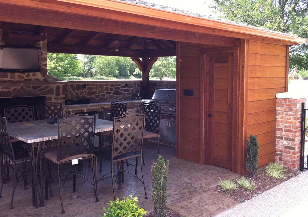 Backyard Patio Cover, Outdoor Kitchen and Bathroom In ... on Backyard Bathroom Ideas  id=85321