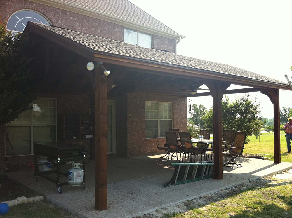 Large Backyard Patio Cover with Ceiling Fans: Van Alstyne ... on Backyard Patio Cover  id=96930