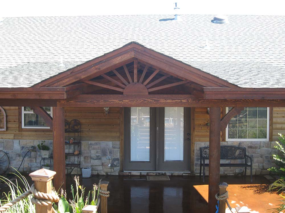Roofed Backyard Patio Cover with Sunburst - Hundt Patio ... on Backyard Patio Cover  id=95804