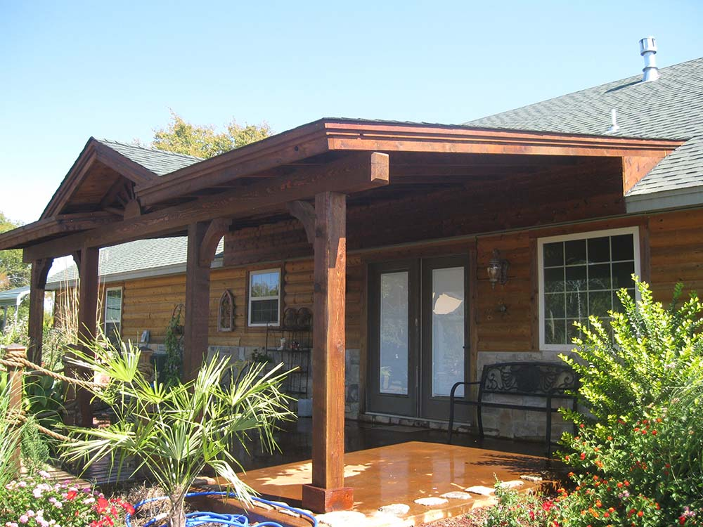 Roofed Backyard Patio Cover with Sunburst - Hundt Patio ... on Covered Back Deck Designs id=71326