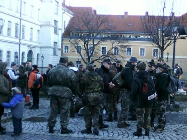 """Participants are gathering for their yearly tour following the German and Hungarian troops """"breakthrough"""" on February 11, 1944"""