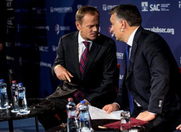 Donald Tusk and Viktor Orbán, May 15, 2014, Bratislava Source: Hungarian Prime Minister's Office, Photo Barna Burger, MTI