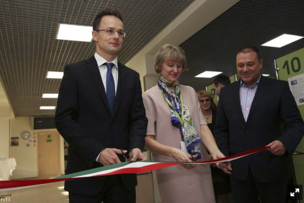 Péter Szijjártó, Elena Tsvetkova, and Csaba Tarsoly at the opening of the Moscow Trading house, November 19, 2014