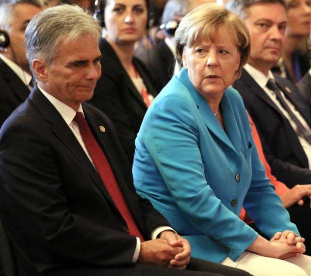 Chancellor Werner Feymann, Chancellor Angela Merkel and Prime Minister Denis Zvizdić