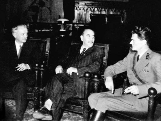 One of the few pictures of members of the Nagy government: Zoltán Tildy, Imre Nagy, and Pál Maléter