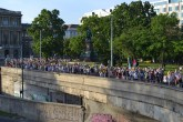 Demonstrators approach the Chain Bridge.