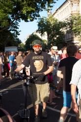 Demonstrator with bike.