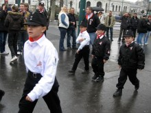 Boys from the Hungarian Guard youth-wing attend the parent organization's commemoration of the March 15 national holiday (3/15/2009).