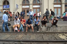 Refugees waiting for train they think will take them to Germany.