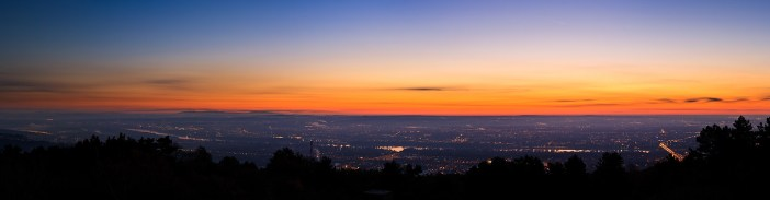 Budapest before sunrise: panorama from Hármashatár-hill