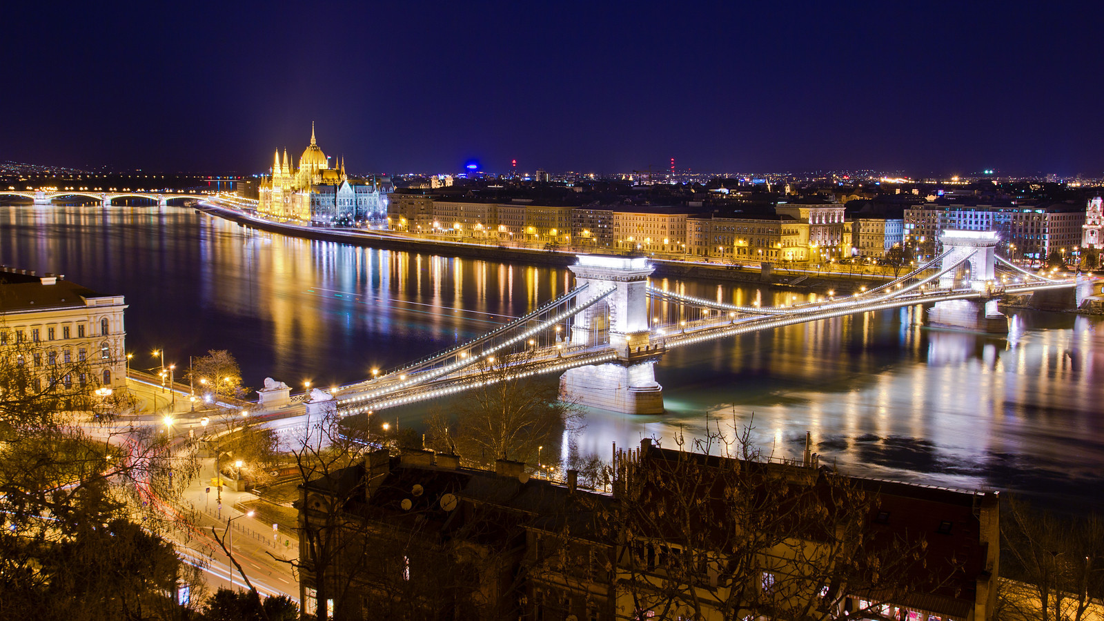 Chain Bridge and Parliament at night from Buda Castle