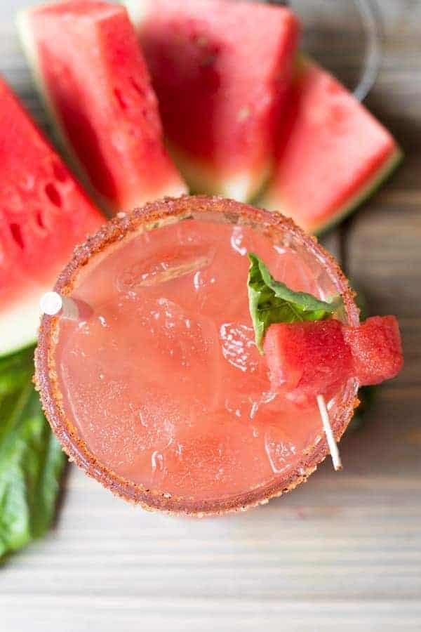 Watermelon Basil Margarita | Chili Sugar Rim
