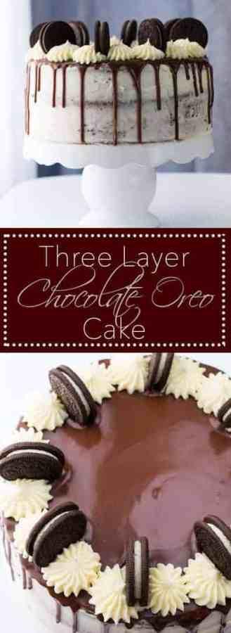Three Layer Chocolate Oreo Cake