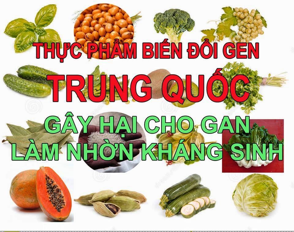 Trung Quốc đã cấy loại đậu Brazil vào cây đậu nành cùng với vi trùng để tạo loại đậu nành nầy có sức phát triển cao, mang tới nhiều lợi nhuận. Dễ để nhận biết vì loại đậu nành GM có màu vàng hơn, khác với những hạt đậu nành trắng. Danh sách thực phẩm (Biến Đổi Gen) Trung Quốc có nguy cơ GÂY HẠI cho GAN và làm Nhờn Kháng Thể theo thứ tự gồm có: Đậu nành, Dầu ăn Canola, Bắp, Bắp cải (bok choy), Củ cải đỏ, Củ Cải Thụy Điển, Cải xoăn, Rau nước (mizuna) , Củ cải đường, Zucchini, Yellow Summer Squash, Cây gai, Gạo, Lúa mì, Bí, Cải thảo.