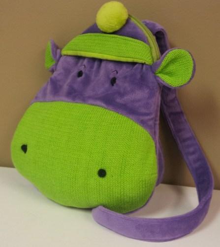 Purple Hippo Backpack $18.50
