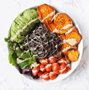 Plant Based Power Bowl with Black Bean Pasta HUNGRY-BLONDE.COM
