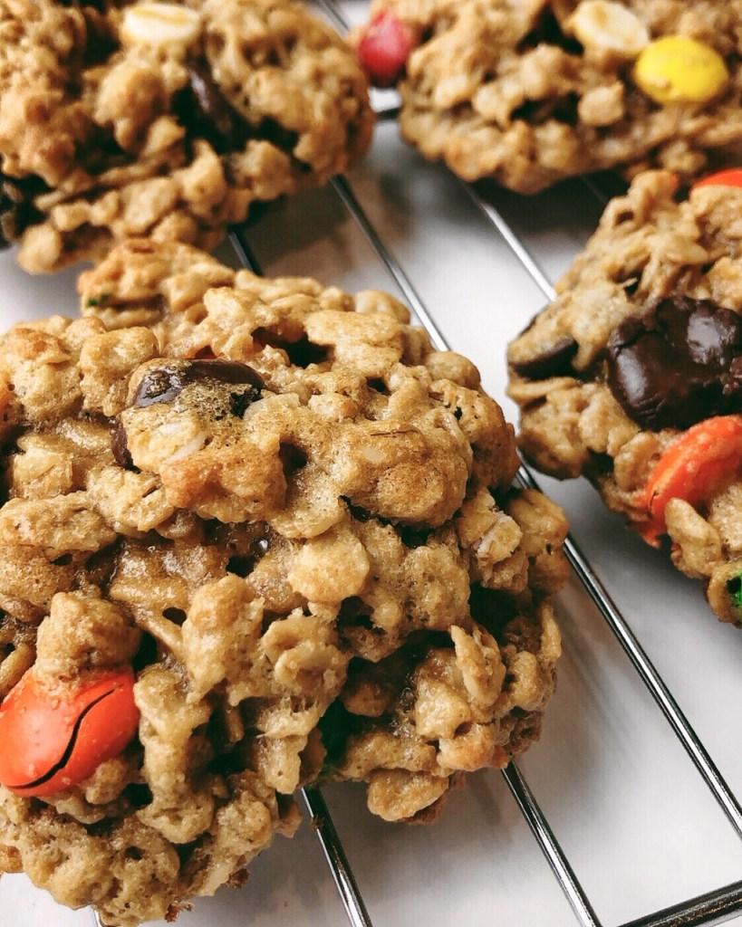 Flourless Monster Cookies - gluten-free peanut butter ...
