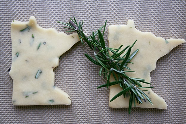 two Minnesota shaped rosemary shortbread cookies before baking