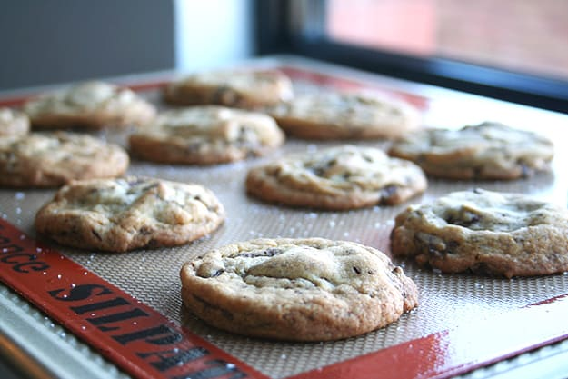 a baking sheet full of salted chocolate chunk cookies
