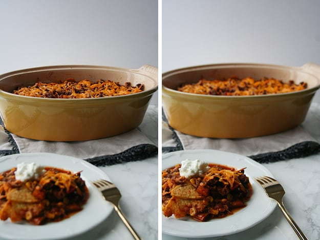 two photos of the mexican turkey casserole - one focused on the plate in the foreground and the other on the dish in the background