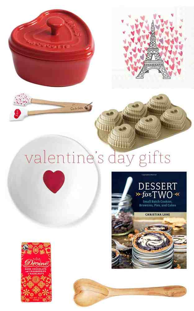 a valentine's day gift guide complete with a Staub mini heart cocotte, Eiffel Tower cocktail napkins, mini heart spatulas, heart cakelet pan, round heart dish, Dessert for Two cookbook, Divine Dark Chocolate bar, wooden heart spoon