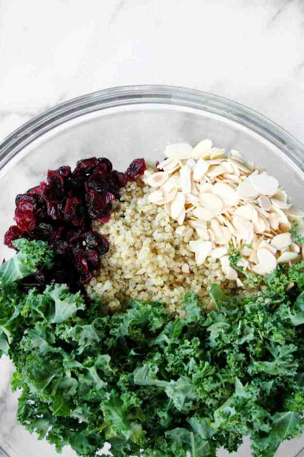 Kale Cranberry and Almond Quinoa Salad with Lemon Vinaigrette | Hungry by Nature