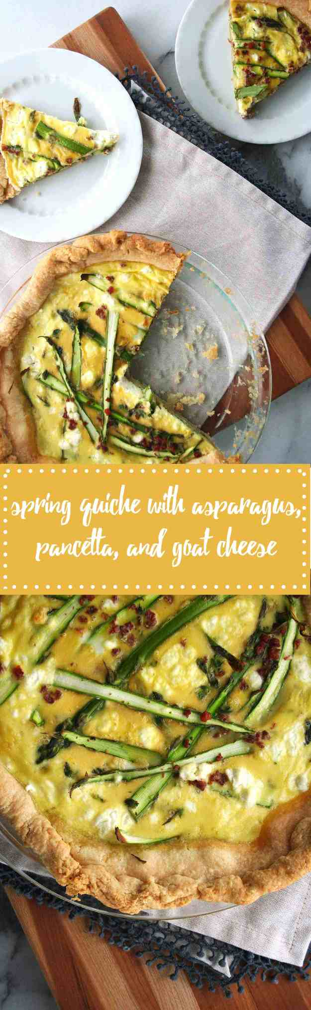 Spring Quiche with Asparagus, Pancetta, and Goat Cheese | hungrybynature.com