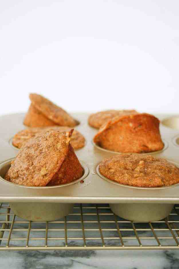 apple cinnamon protein muffins close